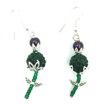 Scottish thistle earrings made with beads - jewellery making kit.